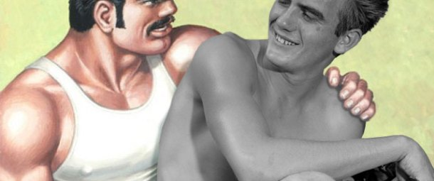 An image of two men. One a drawing of a muscled, moustached man in a white vest and muer cap drawn by Tom of Finland, the other a black and white photograph by Bob Mizer. The two images of the men have been collaged in such a way as they look like they are interacting together.