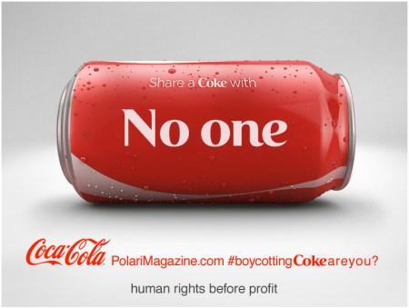 Boycott Coke image: share a Coke with no-one
