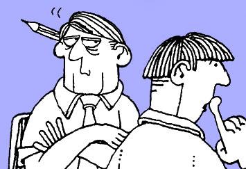 David Shenton cartoon depicitng a councilor from local government looking at a colleague suspiciously