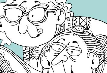 David Shenton cartoon depicitng two women of an age learing over a saucy calendar