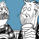 A cartoon image by David Shenton of two men chatting over a pint in the pub.