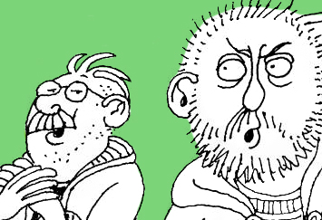 David Shenton cartoon depicting two men, one sings the other scowls