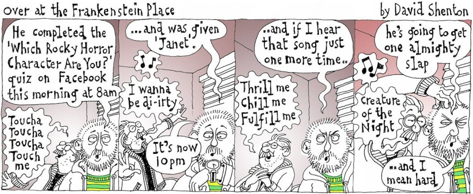 Over At The Frankentstein Place, Cartoon by David Shenton for Polari Magazine