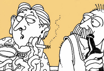 A cartoon by David Shenton in which two gay men are depicted chatting in a bar.