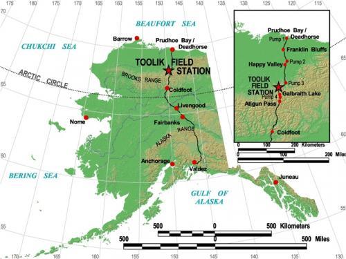 Mapa con el recorrido de la Dalton Highway, en Alaska