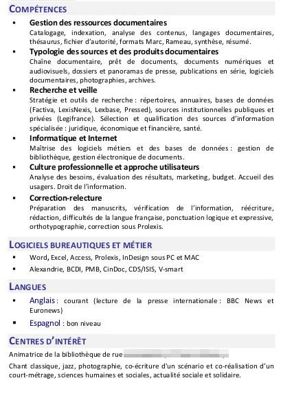 analyse de cv  u0026quot gestionnaire de l u0026 39 information u0026quot   avec