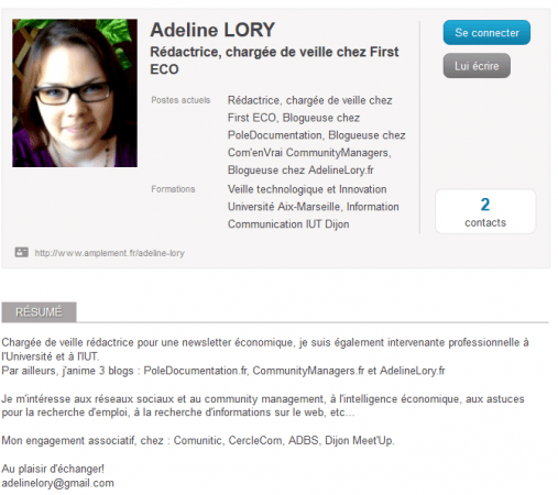 Profil rencontre exemple