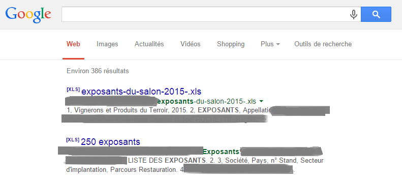 resultats google - exposants salon