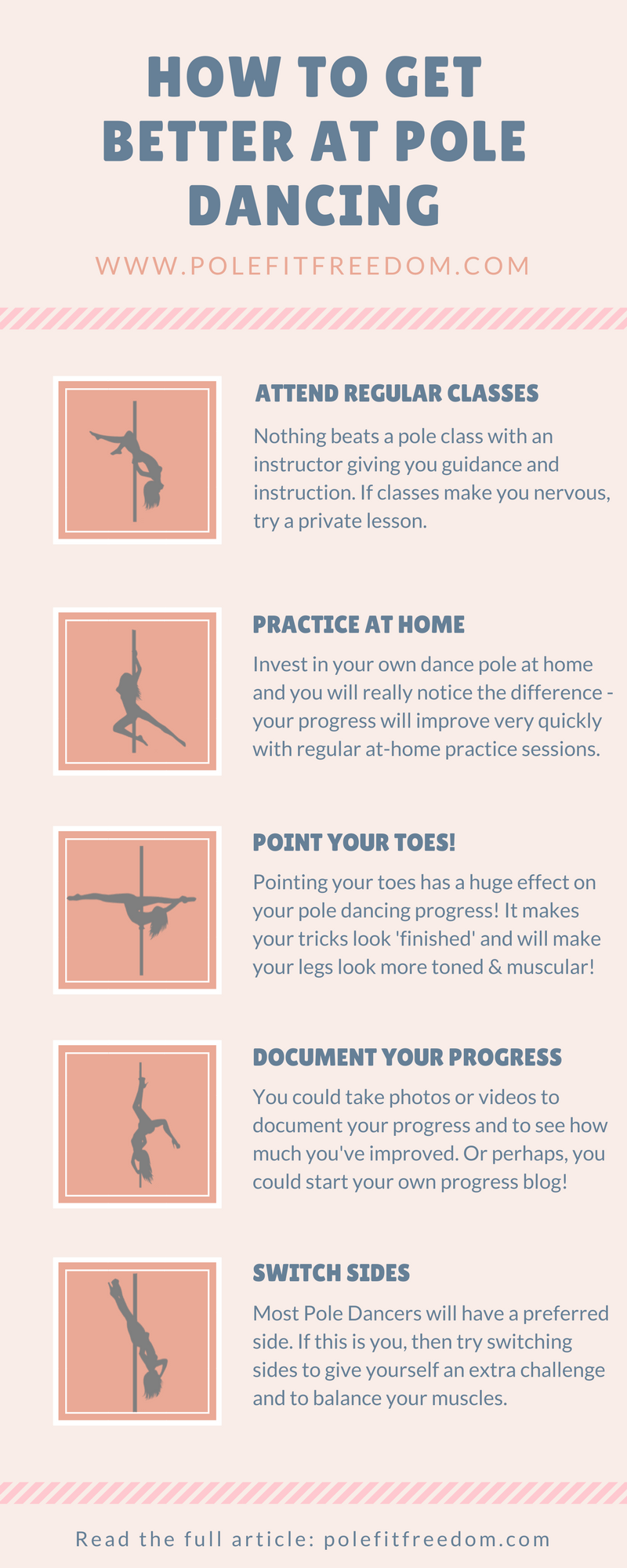 How to get better at pole dancing infographic