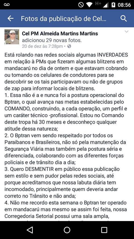 Comandante da PM nega apreensões de celulares em blitzen na Paraíba