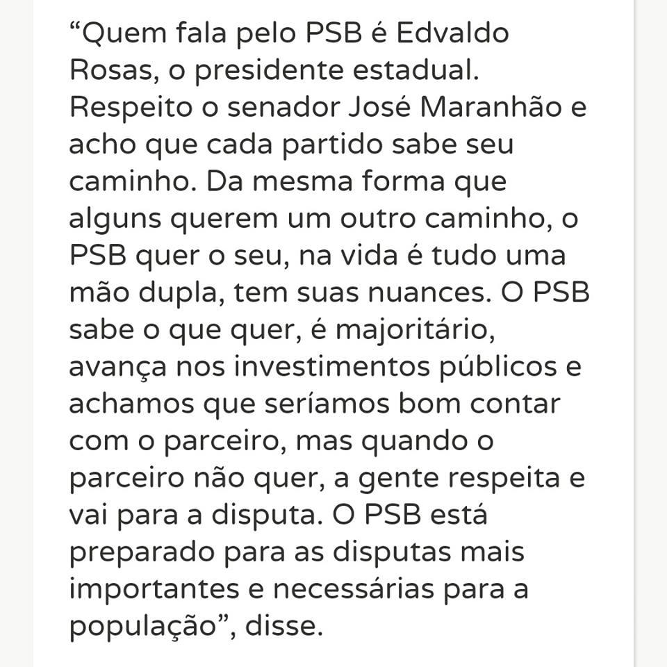 """5QXHX 1 - Ricardo responde ao senador Maranhão: """" O PSB é majoritário, mas quando o parceiro não quer a gente respeita"""""""