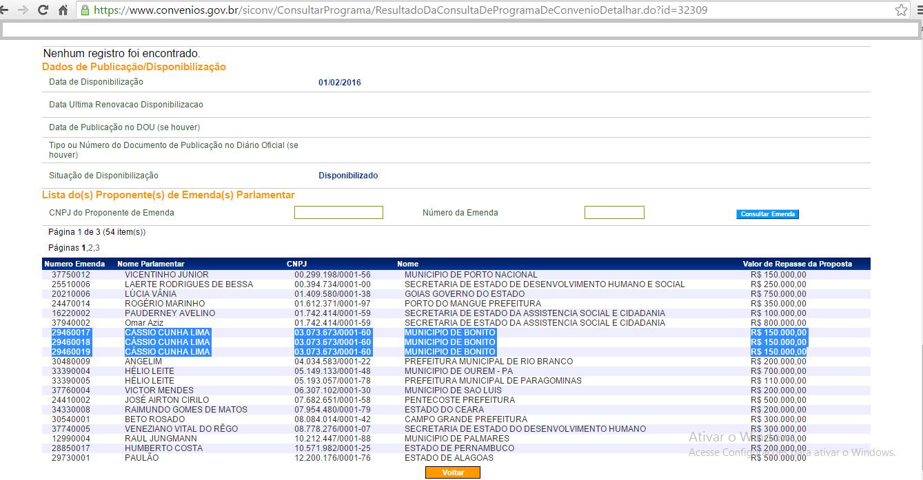 cássio print1 - Cássio nega, mas site do Siconv mostra valores destinados para município em Mato Grosso do Sul