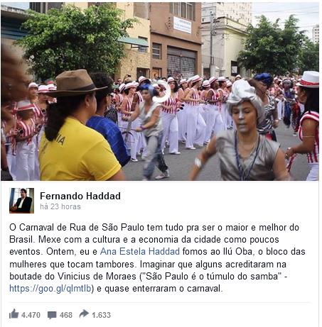 haddad - Não é só você: políticos também curtem Carnaval nas redes sociais
