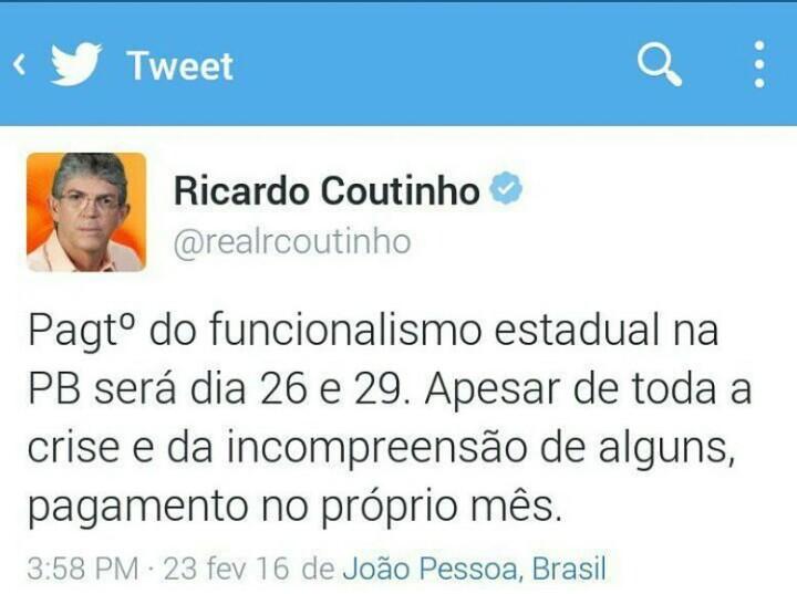 pagamento pb fevereiro - Ricardo anuncia pagamento do funcionalismo estadual