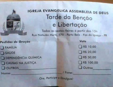 tabela de milagre - Igreja Evangélica cobra de R$ 10 a R$ 100 por milagres - veja a tabela