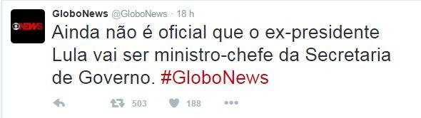 Barrigada globo news - GloboNews comete gafe, anuncia Lula como ministro e desmente três minutos depois