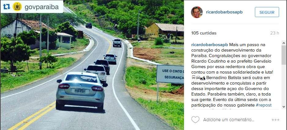 instaricardo - Ricardo Barbosa elogia Ricardo Coutinho e ameniza clima