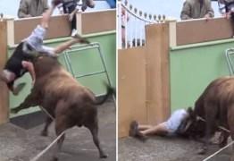 Homem decide filmar em vez de correr de touro e acaba chifrado – VEJA VÍDEO