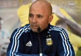 Sérgio Sampaoli comemora primeira vitória à frente da seleção Argentina