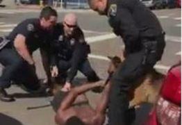 VEJA VÍDEO: Cão policial morde suspeito algemado