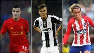 Philippe Coutinho Dybala Griezmann 300x169 - BARCELONA: Saída de Neymar abre vaga para Coutinho, Dybala e Griezmann que podem substitui-lo
