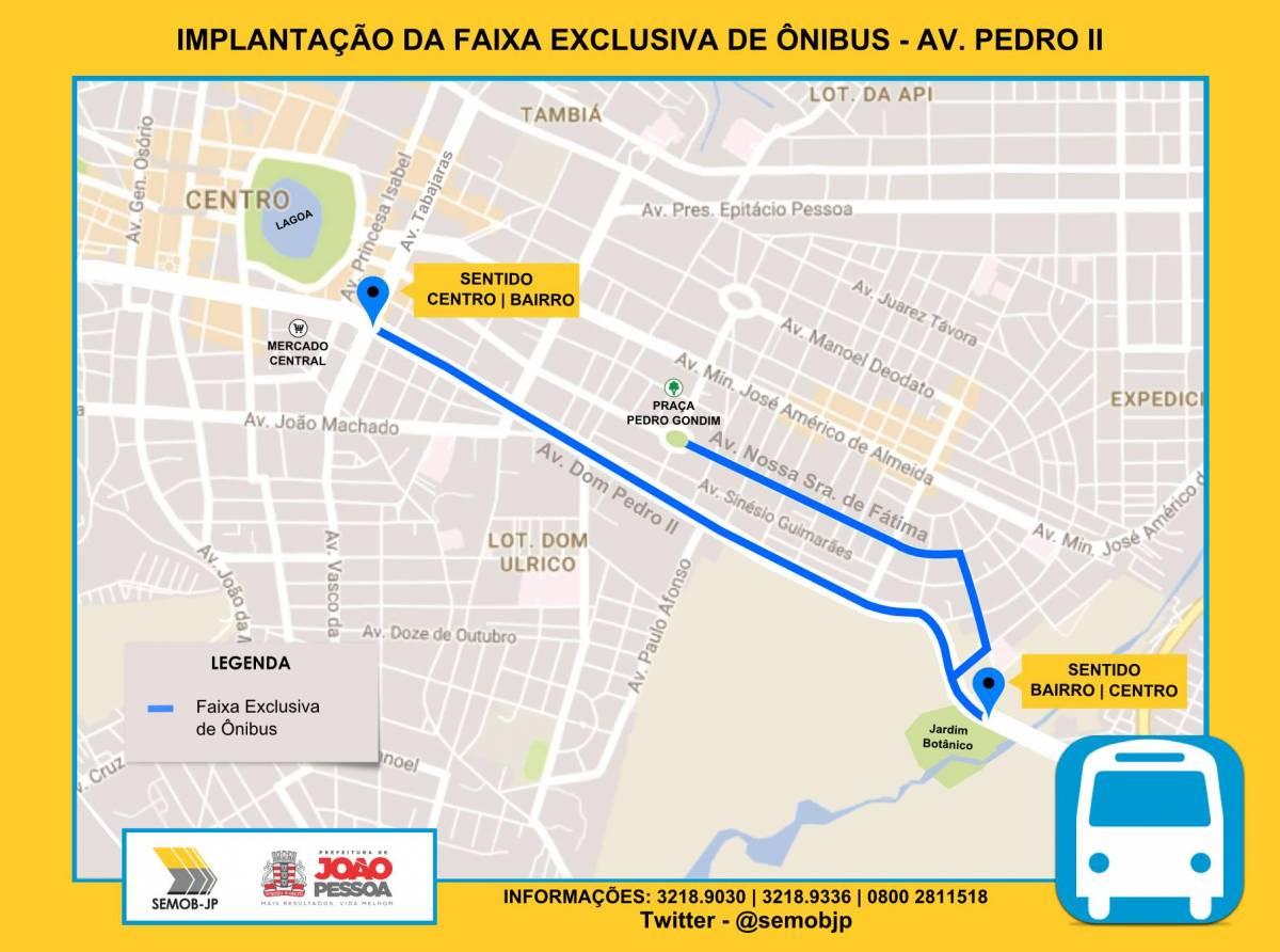 mapa semob - Semob iniciará período educativo para implantação da faixa exclusiva de ônibus na Avenida Pedro II