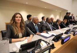 Gisele Bündchen faz discurso sobre meio ambiente em evento da ONU