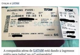 Golpe no Facebook promete passagens aéreas da LATAM Airlines
