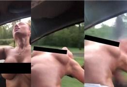 VEJA VÍDEO: Mulher fazendo topless põe corpo para fora de carro em movimento e tem cabeça esmagada