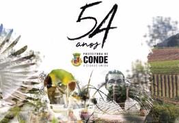 Prefeitura de Conde prepara programação especial para comemorar os 54 anos da cidade