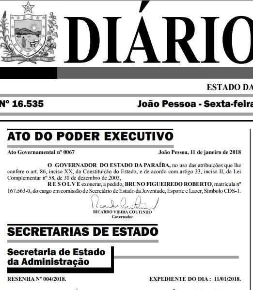 Exoneração - Ricardo exonera Bruno Roberto da pasta da Juventude, Esporte e Lazer