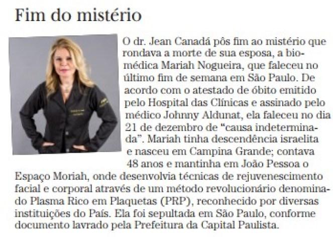nota abelardo jurema02 - VIVA OU MORTA ?: Novas versões sobre a morte misteriosa da biomédica Mariah Nogueira