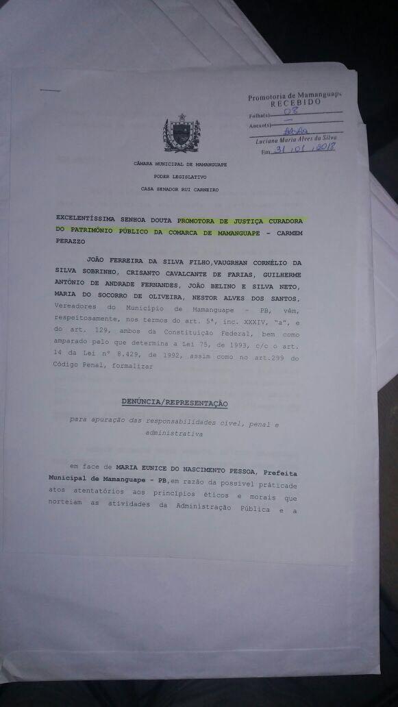 IMG 20180201 WA0013 - 'SUPERFATURAMENTO, CONTRATAÇÕES IRREGULARES...': vereadores denunciam prefeita de Mamanguape por 'crimes' cometidos na gestão pública