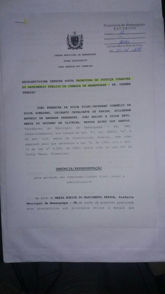 IMG 20180201 WA0015 - 'SUPERFATURAMENTO, CONTRATAÇÕES IRREGULARES...': vereadores denunciam prefeita de Mamanguape por 'crimes' cometidos na gestão pública