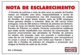 DIREITO DE RESPOSTA: Em nota, 'Paraíba de Prêmios' esclarece sobre suposta fraude em sorteios