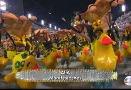 Desfile recheado de críticas à política constrange narradores da Globo