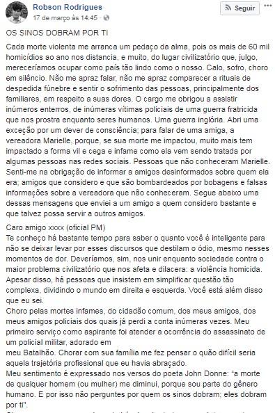 POSTAGEM CEL - Homenagem a Marielle de um coronel da PM do Rio: Os sinos dobram por ti