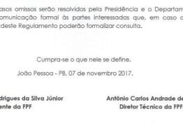 FPF adia decisão sobre polêmica do regulamento do Paraibano 2018