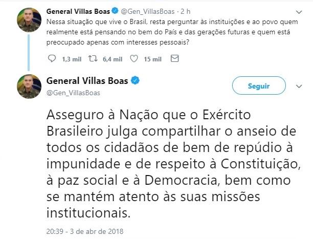 """Mensagem Villas Boas - RECADO? """"Exército repudia impunidade e se mantem atento à sua missão institucional"""", diz General Villas Boas"""