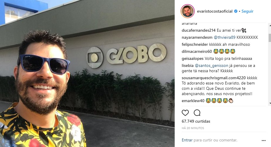 evaristo costa globo - DE VOLTA AO LAR? Evaristo Costa posta foto e dá esperanças para fãs
