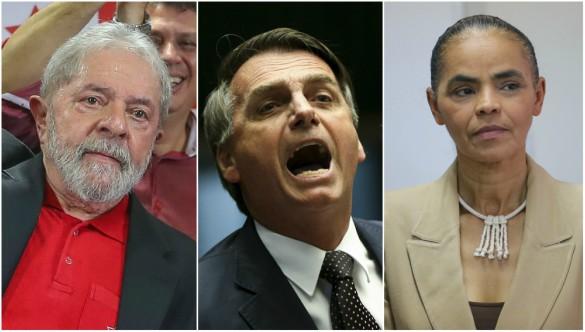 lula bolsonaro marina - MESMO PRESO, LULA LIDERA PESQUISA DATAFOLHA: sem ele, Marina empata com Bolsonaro