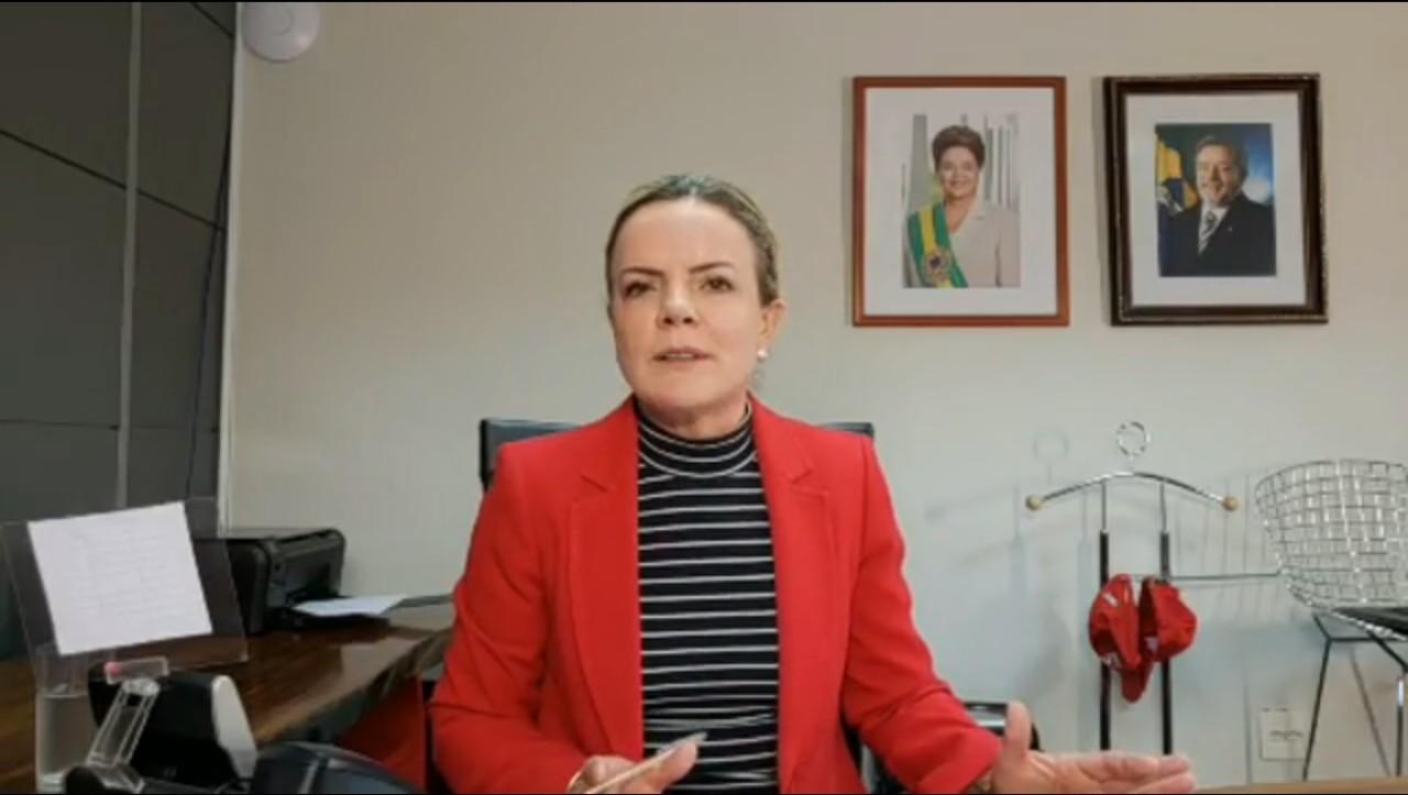 gleisi - PT anuncia ações contra Bolsonaro por apologia ao crime e incitação à violência