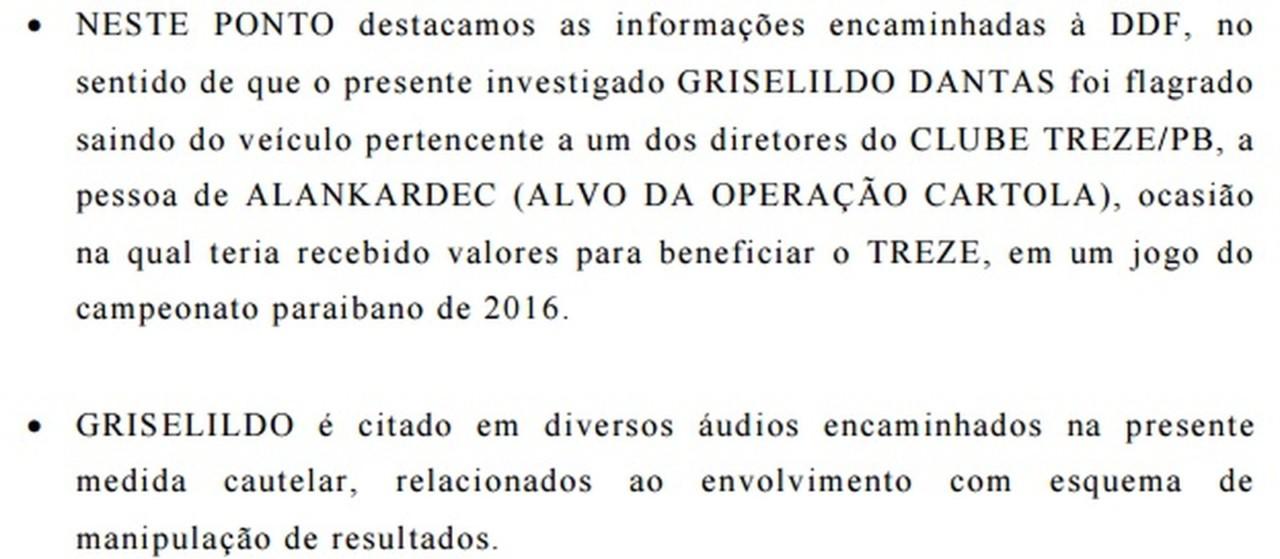 relatorio sobre sousa junior - Polícia suspeita de que Treze tenha sido beneficiado em outra edição do Paraibano