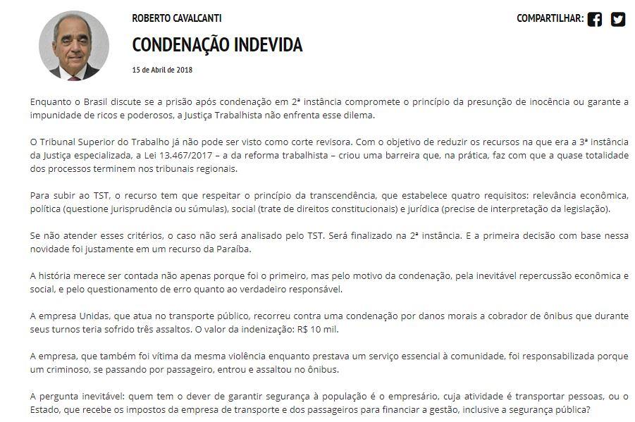 Roberto cavalcanti 1 - ROBERTO JÁ ESCOLHEU UM LADO: Sistema Correio abre as 'baterias' contra o Governo Ricardo Coutinho