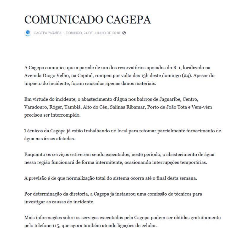 WhatsApp Image 2018 06 24 at 15.28.21 - URGENTE - Reservatório de água da Cagepa na Diogo Velho rompe: VEJA VÍDEO