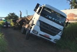 Caminhão tomba na BR-230 para evitar suposto assalto na estrada