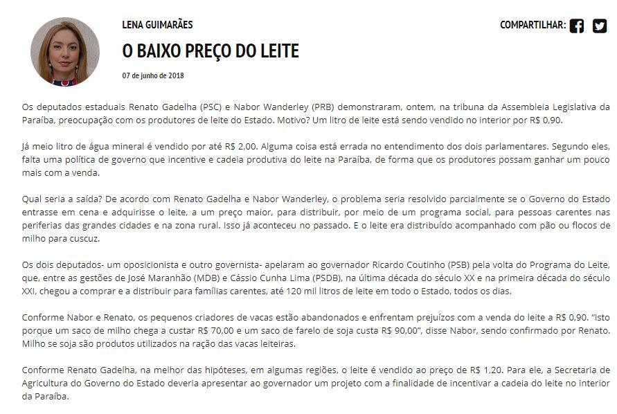 lena 1 - ROBERTO JÁ ESCOLHEU UM LADO: Sistema Correio abre as 'baterias' contra o Governo Ricardo Coutinho