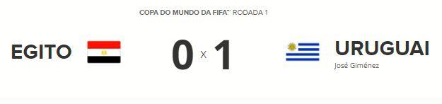 tabela egito uruguai - Salah fica no banco, Suárez perde chances, mas Uruguai vence o Egito no sufoco