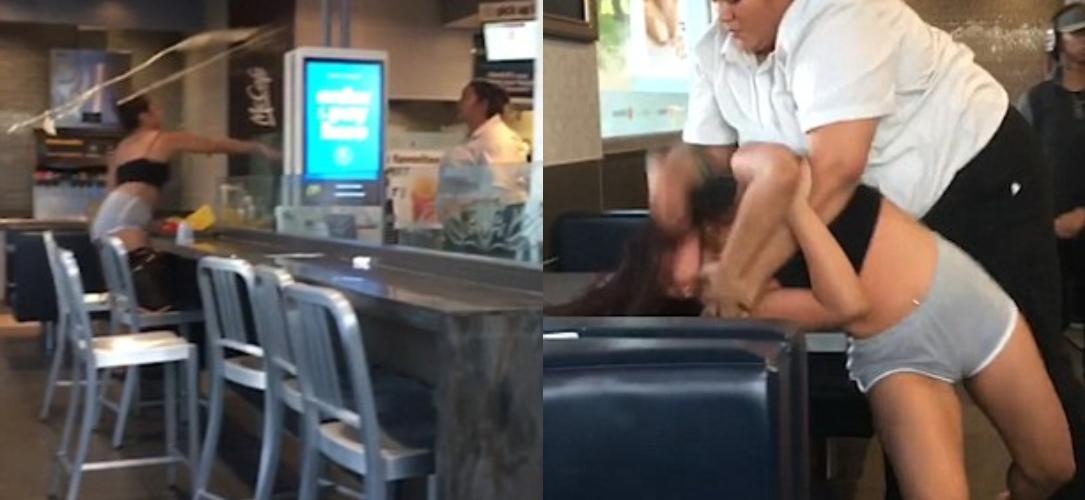 briga mc - Briga no McDonald's: Funcionária bate em cliente que jogou bandeja em seu rosto - VEJA VÍDEO