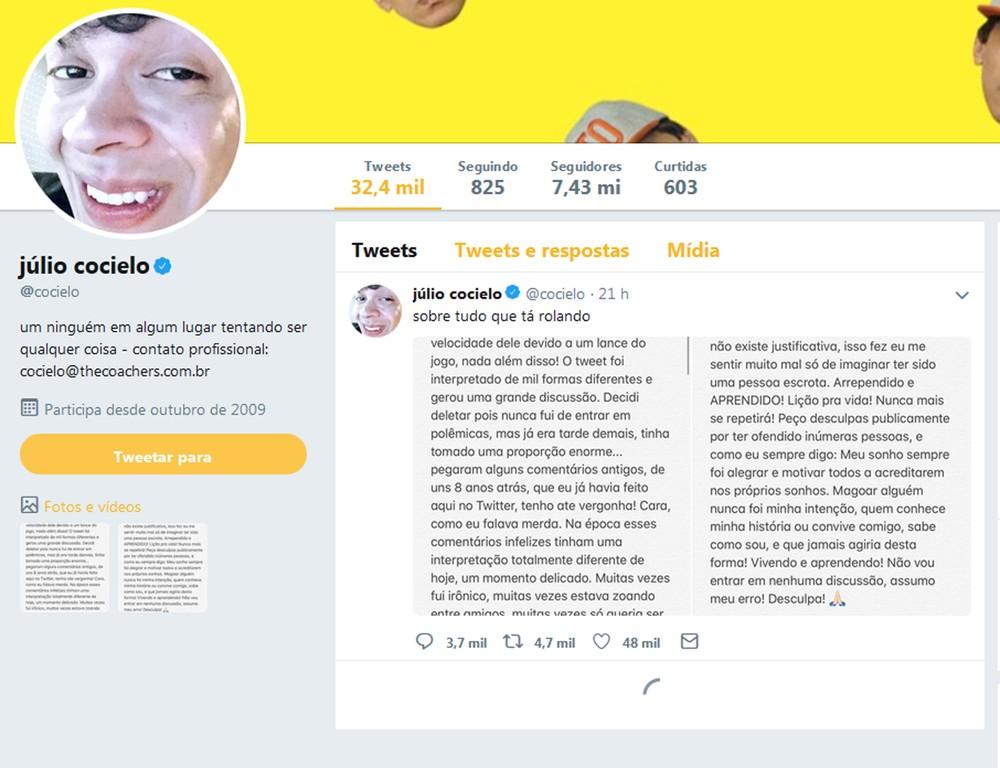coicielotuite2 - Youtuber apaga 50 mil tuítes após críticas por comentário sobre jogador francês